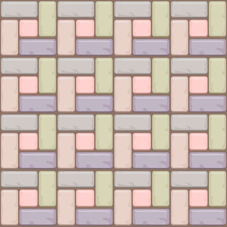 flagstone: Colored Concrete paving slabs surface. Vector Seamless texture backgrounds Illustration
