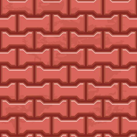 赤コンクリート H 形舗装スラブ表面。シームレス テクスチャのベクトルの背景