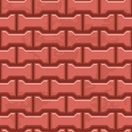 Red Concrete H shaped paving slabs surface. Vector Seamless texture backgrounds
