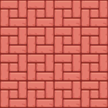 Red Concrete paving slabs surface. Vector Seamless texture backgrounds Illustration