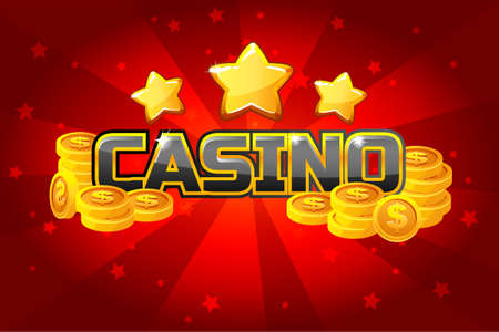 wheel of fortune: logo text casino and gold coins, For Ui Game element Illustration