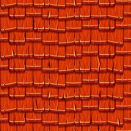 Tuiles de toit en bois rouge sans couture Vecteurs