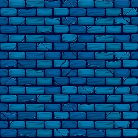 Vector naadloze blauwe bakstenen muur achtergrond textuur patroon