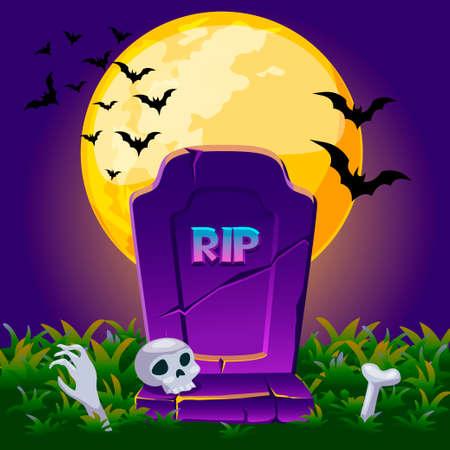 grave stone: Cartoon old gravestone at night with full moon. Illustration