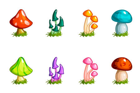 Cartoon different mushrooms set, colored collection Imagens - 82691687