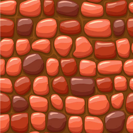 view from above cartoon red stone texture, vector seamless background