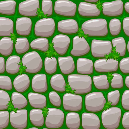 Gray old stone on grass texture, vector cartoon seamless background