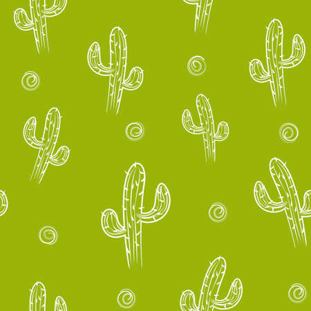 Green Seamless pattern with cactus. Vector background. Illustration