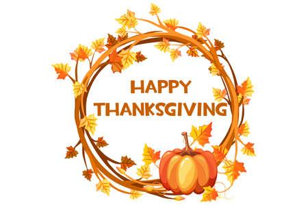 Happy Thanksgiving day, illustration orange wreath with pumpkin Vectores