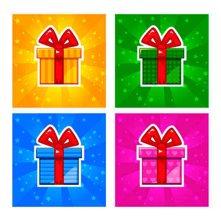 Cartoon multi-colored Gift box icons Illustration