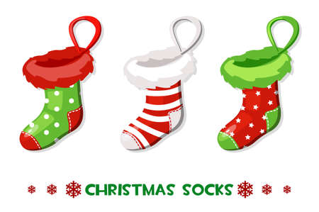 Vector Cartoon Christmas socks, New Year symbols Vettoriali