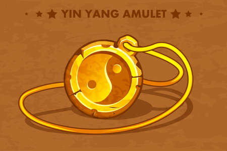 Illustration cartoon golden circle old amulet Yin Yang