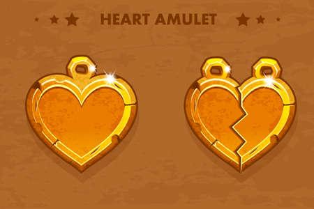 Illustration cartoon golden heart love amulets. Vector assets for game design