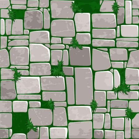 Seamless background texture grey stone on grass. Vector illustration For Ui Game element. Ilustração Vetorial