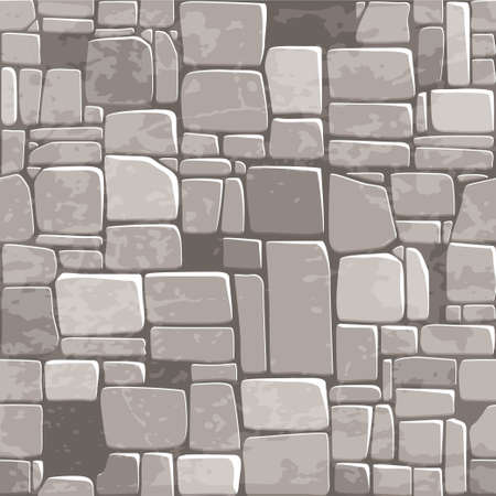 view from above seamless background texture grey stone wall. Vector illustration For Ui Game element