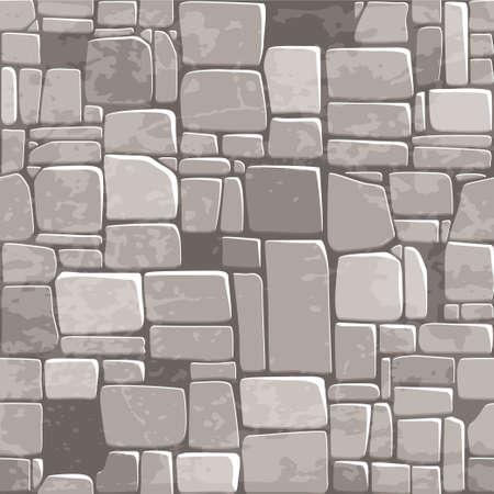 vista desde arriba la pared de piedra gris de la textura de fondo transparente. Ilustración de vector para elemento de juego Ui
