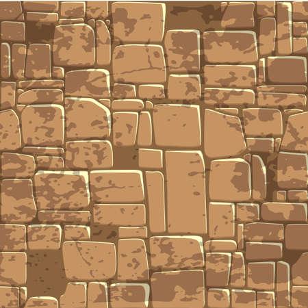 naadloze achtergrond textuur van bruine stenen muur. Vector illustratie voor Ui Game-element Stock Illustratie