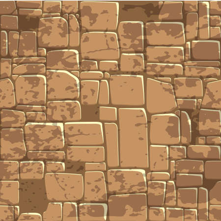 seamless background texture of brown stone wall. Vector illustration For Ui Game element