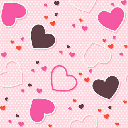 Cartoon Pink seamless pattern background valentine heart vector illustration printing onto fabric and scrapbook paper Иллюстрация