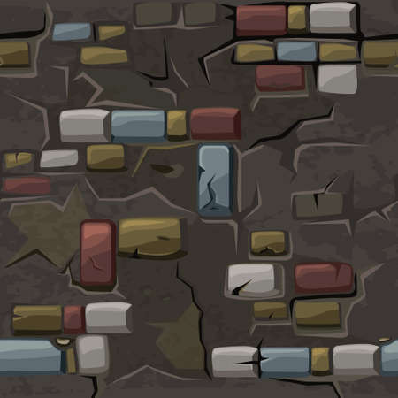 Cartoon seamless pattern texture old crack colored brick wall, vector background