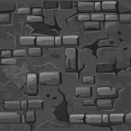 Cartoon seamless pattern texture old crack Grey brick wall, vector background