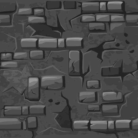 Cartoon seamless pattern texture old crack Grey brick wall, vector background