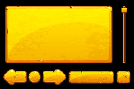 A Vector Cartoon old golden assets and buttons For Ui Game