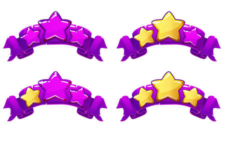 level complete templates, stars rank on purple ribbon, assets for games design, Cartoon game rating icons. Ranking elements. GUI elements for animation.