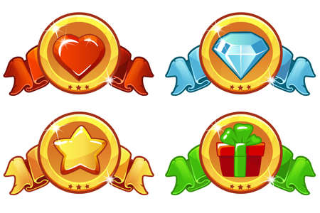 Collection cartoon colored icon design for game, UI, banner, design for app, interface, game development. Vector star, heat, gift and diamond icons set.