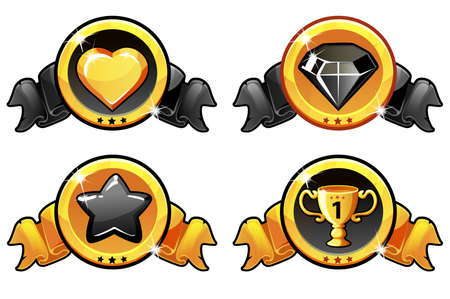 Gold and black icon design for game, UI Vector banner Vectores