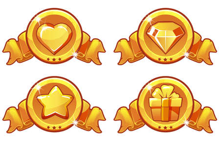 Cartoon gold icon design for game, UI Vector banner, star, heat, gift and diamond icons set Ilustrace