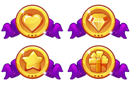 Cartoon icon design for game, UI Vector banner, star, heat, gift and diamond icons set Ilustrace