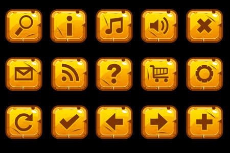 Cartoon gold old blue square buttons with different elements for web or game design. Illustration