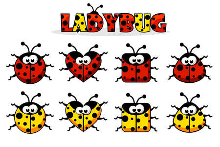 Set artoon red and yellow different shapes Ladybug. Animals and insects