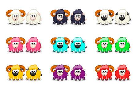 Cartoon cute funny colored sheep and ram