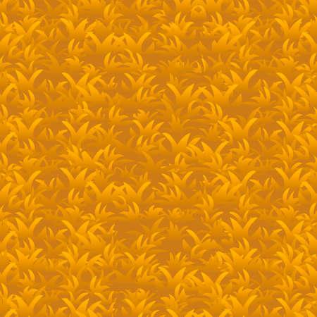 autumn orange grass seamless pattern, vector background Stock Illustratie
