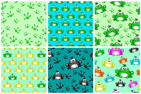 Cartoon seamless pattern from Frogs. Different Colored toads
