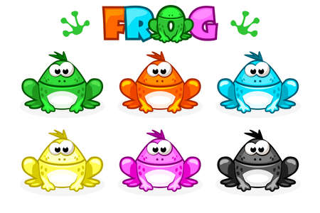 Cartoon Frogs. Different Colored toads