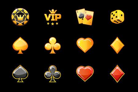 Golden casino icons, vector poker game symbols