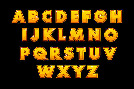 Stylish gold font Lettering. Vector alphabet set