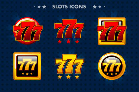 Slots 777 app icon, glossy objects for asset game and GameTwist