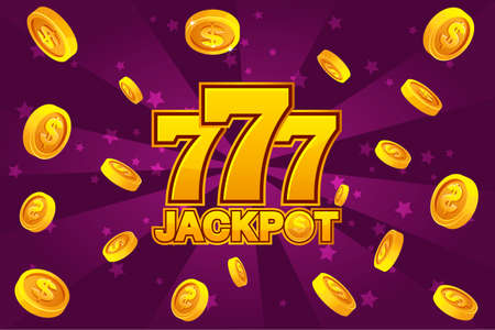 logo JACKPOT and golden 777 icon, explosion gold coins on violet background. Banner casino background