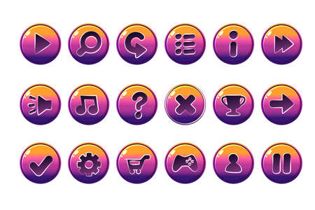 Glossy Buttons for all kinds of casual, cartoons elements for games assets. Illustration