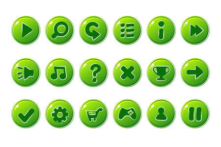 Glossy green Buttons for all kinds of Casual, Cartoons elements for games assets