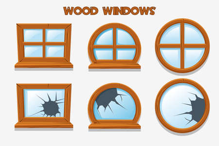 Different shape and old shattered wood windows, cartoon building objects. Element home Interiors Illustration