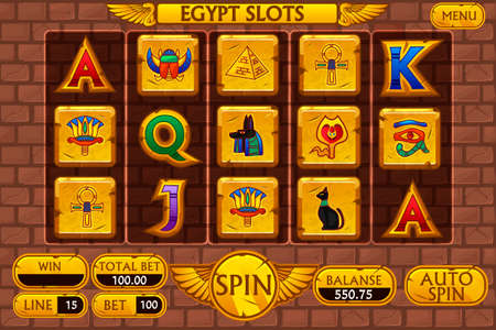 Egyptian background main interface and buttons for casino slot machine game, symbols egypt Illusztráció