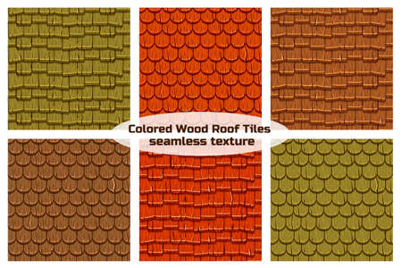 Cartoon wooden old roofing Roof Tiles Seamless Background, collection texture
