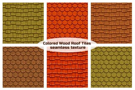 Cartoon Holz alten Dach Dachziegel nahtlosen Hintergrund, Sammlung Textur