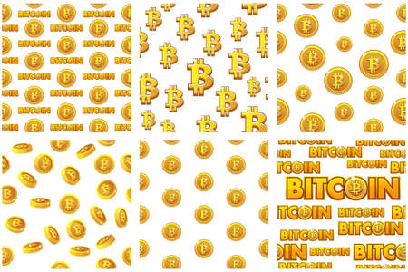 collection seamless Patterns Gold Bitcoin coins on white background. Digital internet currency