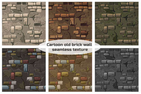 Collection seamless pattern texture old crack brick wall
